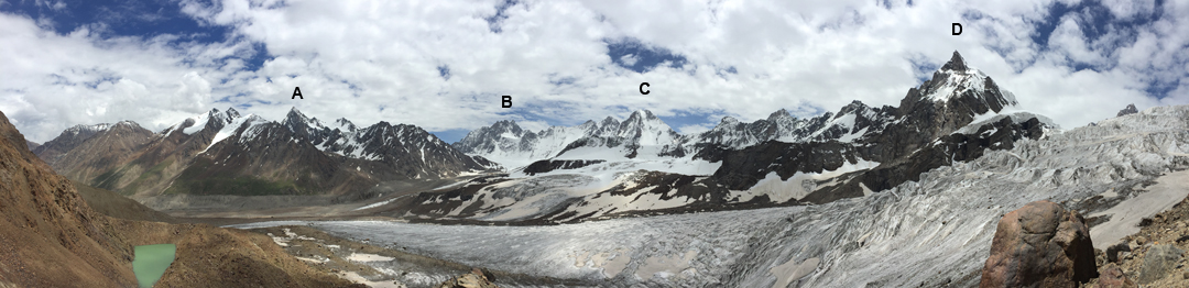 Looking east along the Kyrgyz-Tajik border at the peaks lying at the head of the Jiptik Valley / Schurovsky Glacier. (A) Pik Andreeva (5,127m). (B) Pik Kshemysh Bashi (5,290m). (C) Muz Tok (5,066m; the original route climbed the right skyline ridge). (D) Pik Turkestan (exact height unknown, but listed at the 5,200m level in the Russian classification table; climbed by several routes during the Soviet era). All altitudes other than Turkestan from the Soviet Military Map.