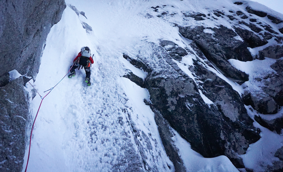 On the second attempt on the northwest face of the Citadel, the climbers aimed for a narrow slot that held the promise of ice. Craig Muderlak encountered steep ice and plenty of névé in the Sliver.
