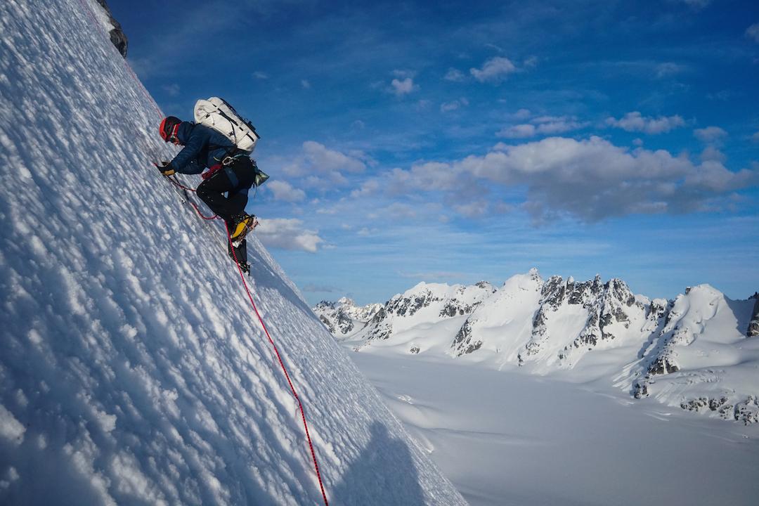 Drew Thayer climbing steep snow on the Citadel.