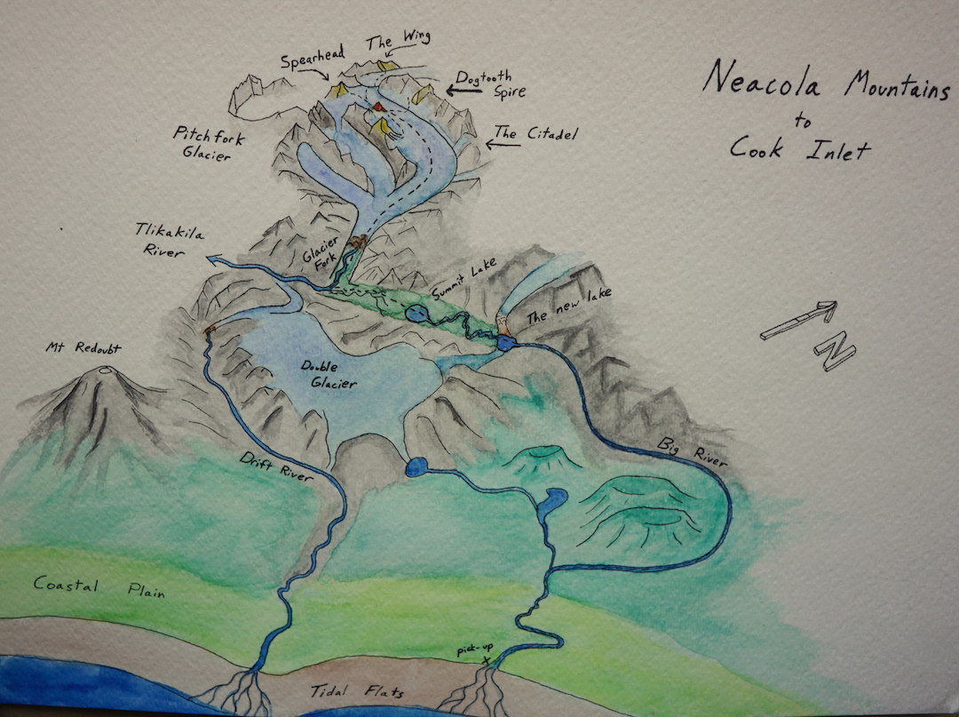 The Neacola Mountains and the peaks climbed and attempted in 2016. The expedition had two potential routes to the sea: the Big River and the Drift River. After much deliberation they chose to attempt the crossing of unknown terrain past Summit Lake, over Lake Clark Pass, and down the Big River.
