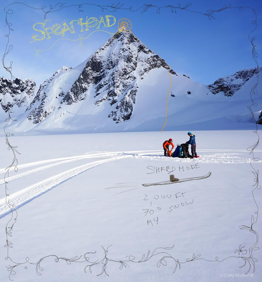 The previously unclimbed peak named Spearhead, showing the route Shred Mode (2,000', M4 70°).