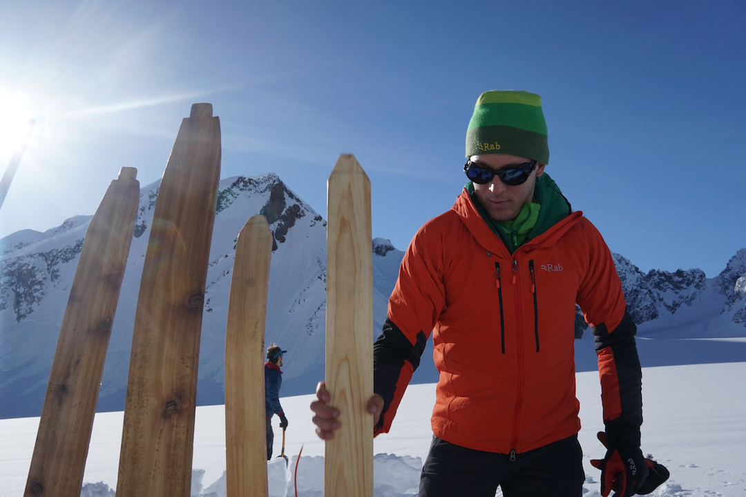 """""""The success of our expedition hinged entirely upon these hand-crafted planks of wood. Without them, we'd be sinking up to our waists in sun-baked snow. David Fay inspects the skis."""""""