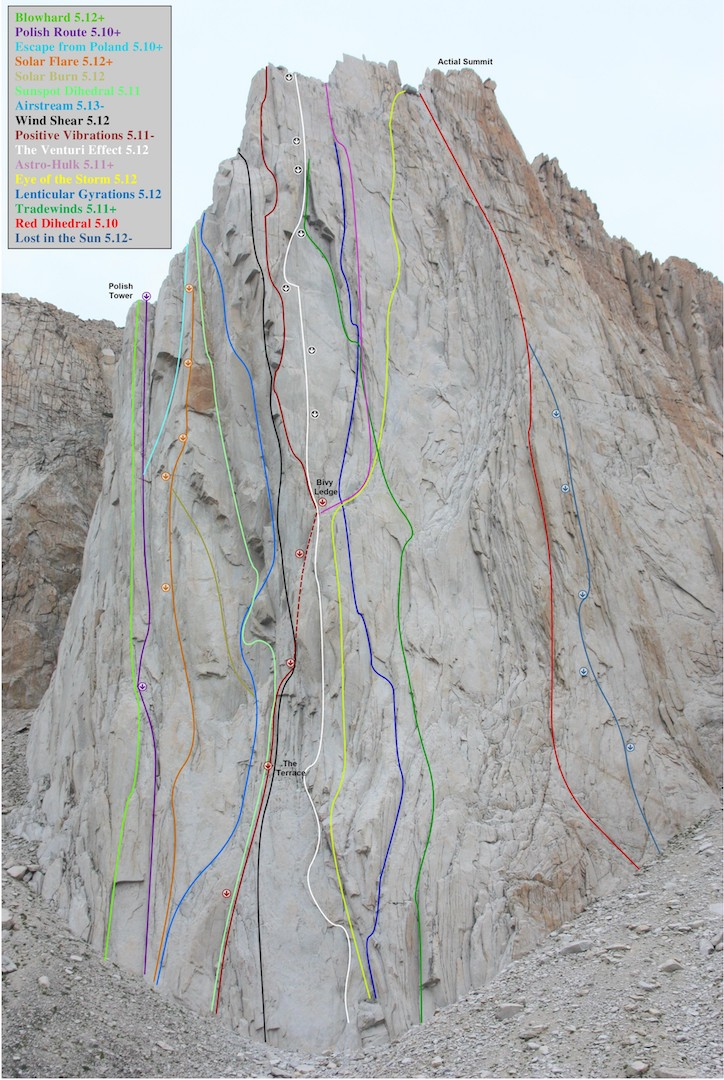 Photo-topo of all known routes on the Incredible Hulk (2016).