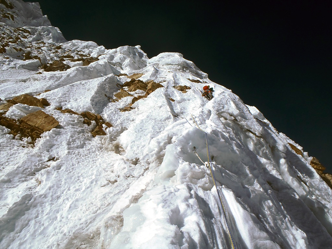Kei Taniguchi in the lead on the fourth day on Pandra. The convoluted nature of the ridge above the climbers onto the north face.