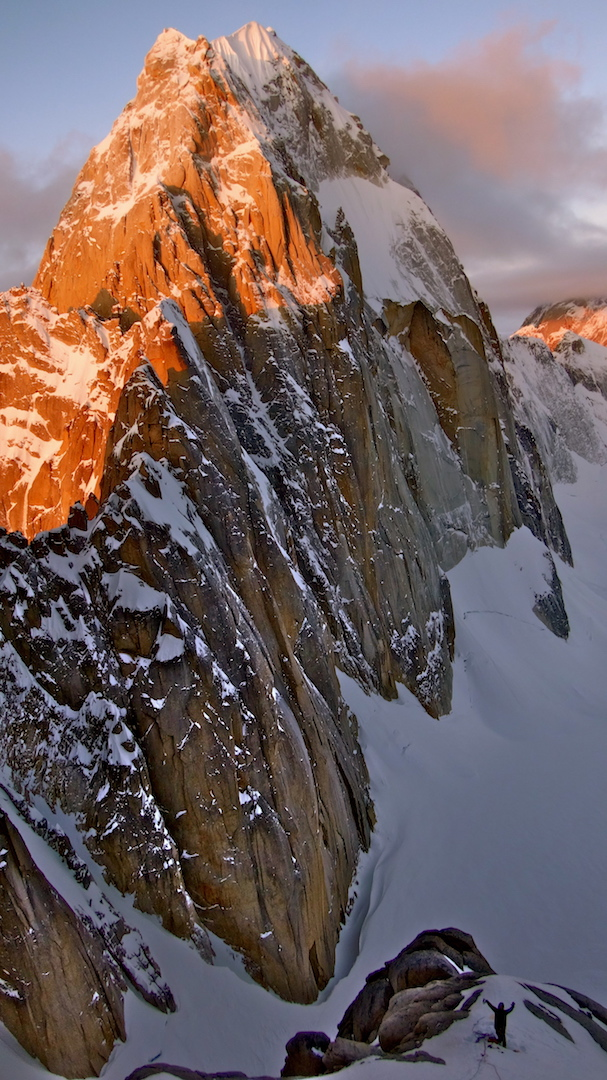 Sunset on Kichatna Spire (8,985') from the bivy halfway up the west face of the Citadel.