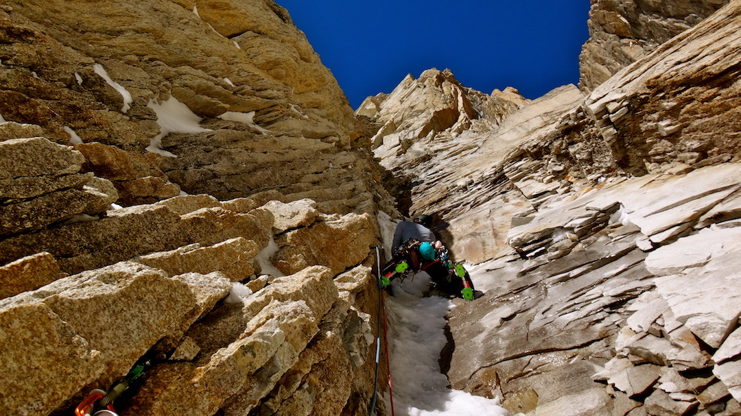 Jess Roskelley leading through mixed terrain on the west face of the Citadel.