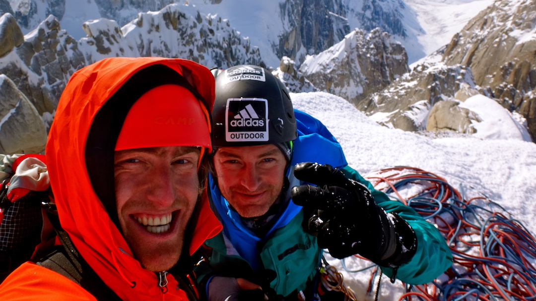 Ben Erdmann (left) and Jess Roskelley on the Citadel, having  reached the summit for a second time via a new route. The two climbers, with Kristoffer Szilas, climbed a new route on the east face of the peak in 2013.