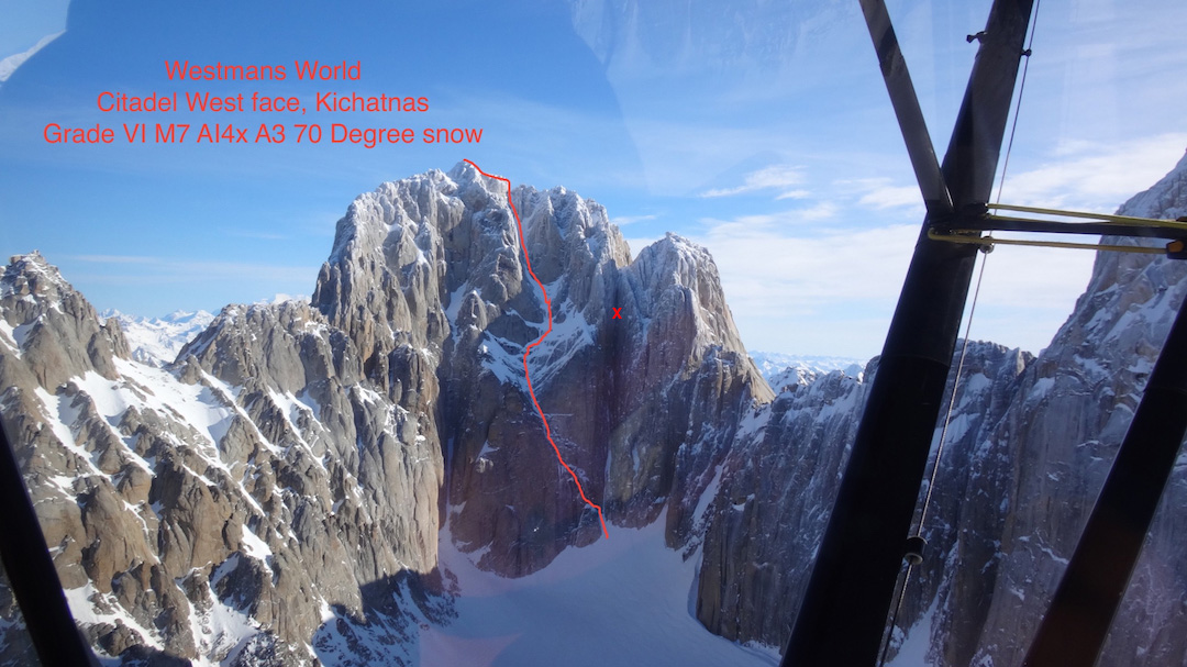 The west face of the Citadel, showing Ben Erdmann and Jess Roskelley's line Westman's World, the first route to be completed on the face. In 2008, Zack Smith and Josh Wharton attempted the huge cleft to the right; their approximate high point is marked with an X.