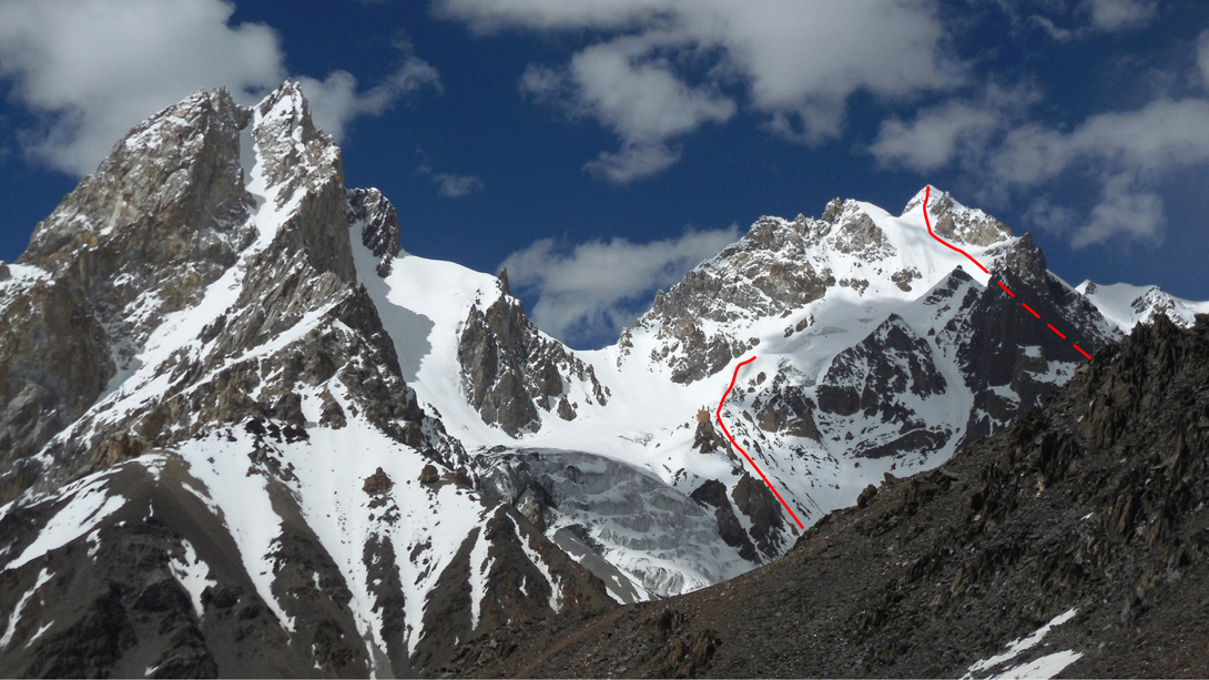 Looking north from the Karun Pir (Pass) at an unnamed, and probably unclimbed, peak of around 6,000m (left) and Pregar, with the two routes attempted on its south face.