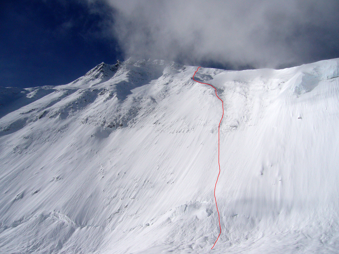 Spanish-French line on the north-northeast face of Everest to junction with north ridge.