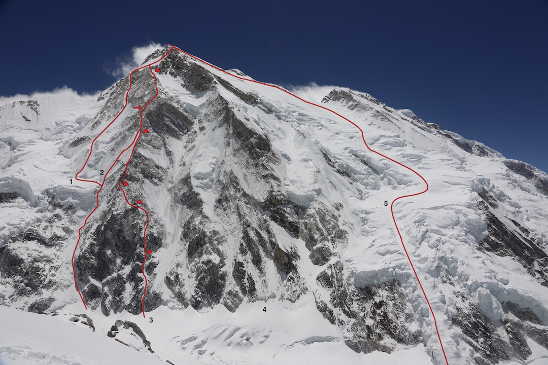 Talung from the northwest. (1) Holecek- Hruby (2013). (2) Italian attempt (2014, arrow marks high point. (3) Balabanov-Fomin (2015). (4) Unclimbed northwest buttress. (5) Linder- Nindra (1964, first ascent and standard descent route). Photo taken in spring 2014. The face had more snow coverage during the successful post-monsoon ascents in 2013 and 2015.