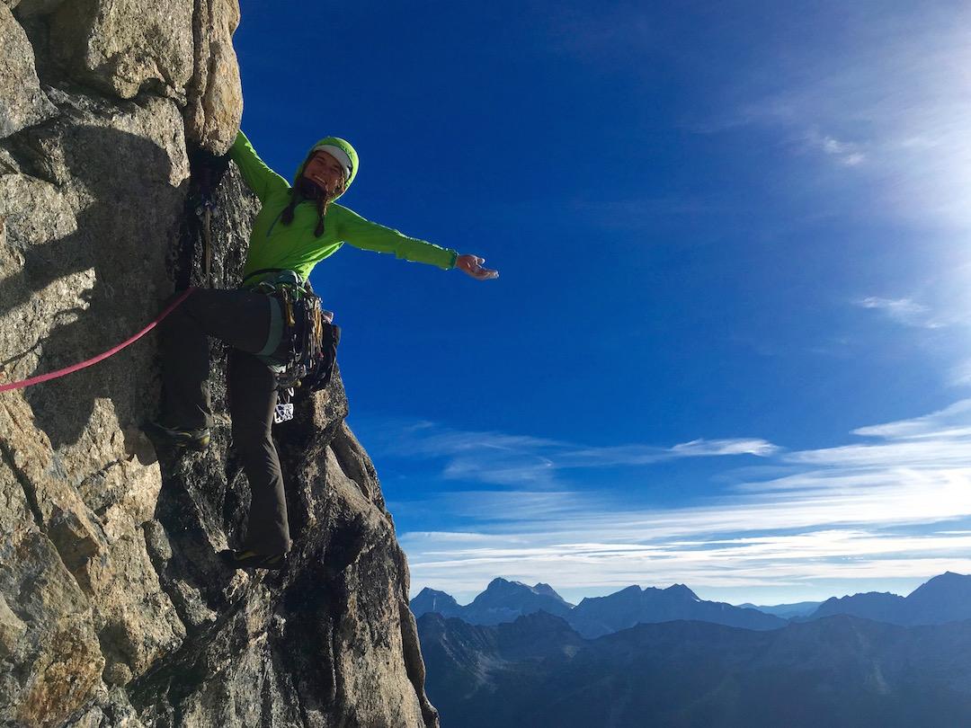 Alix Morris on the east buttress of Hall Peak.