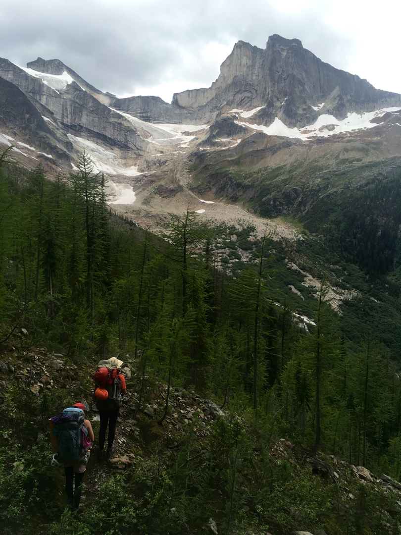 The approach to base camp beneath Hall Peak.