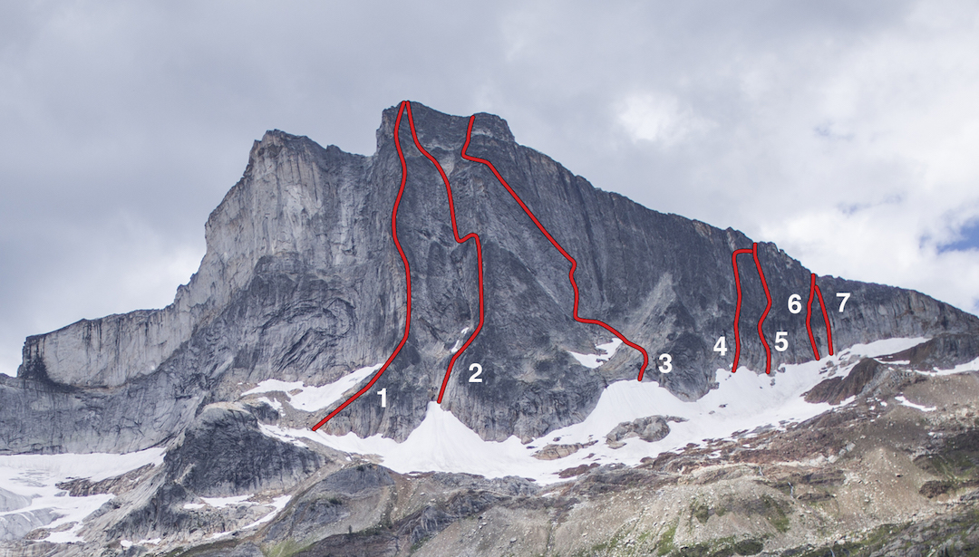 Known routes on the east side of Hall Peak. (1) East Buttress Direct (Morriss-Ramos, 2014). (2) East Buttress (McComb-Myers-Twomey, 1975). (3) East Face Ramp (Leary-Reimondo, 2013). (4) Affirmations in the Afternoon (Woodward-Zimmerman, 2016). (5) Heart Like a Hippo (Abegg-Morris, 2016). (6) Post Credit Cookie (Morriss-Ramos, 2014). (7) Shoeless Solidarity (Woodward-Zimmerman, 2016). The formation to the left is the Pulpit.