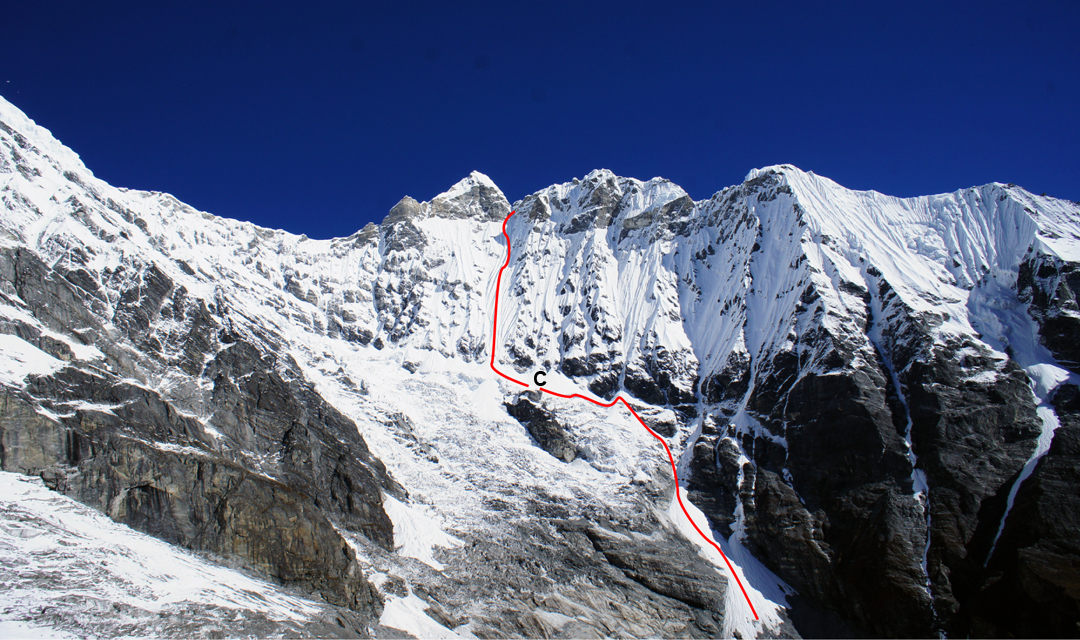 Looking up the Langtang Lirung Glacier to the southwest face of Kimshung and the route attempted in 2016. (C) is the 5,300m high camp. On the left is the southeast flank of Langtang Lirung.