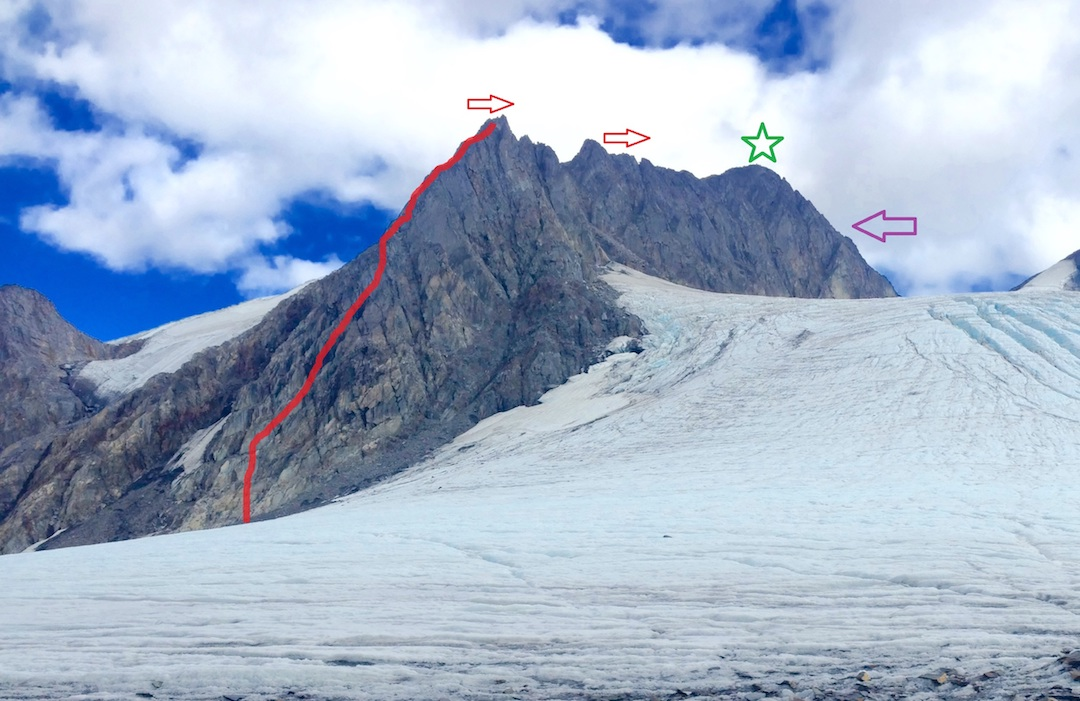 Cracked Ice, showing the Northwest Arête (1,500', III 5.7 AI3), climbed by Taylor Brown, Ryan Sims and Sam Volk.