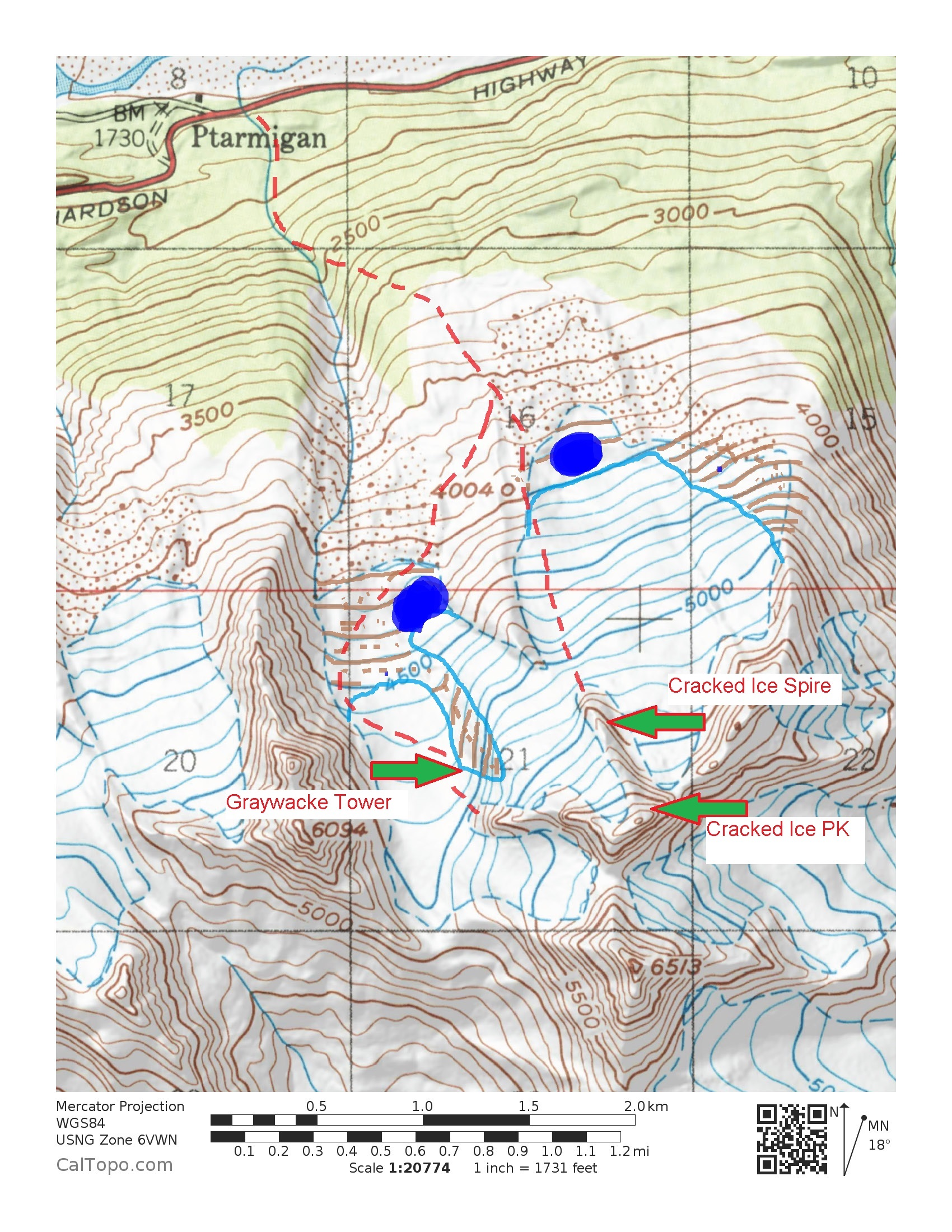 Map showing the areas where Taylor Brown and partners climbed nine rock routes in 2016, along with the approach from the Richardson Highway. The glaciers have receded significantly since this map was produced.
