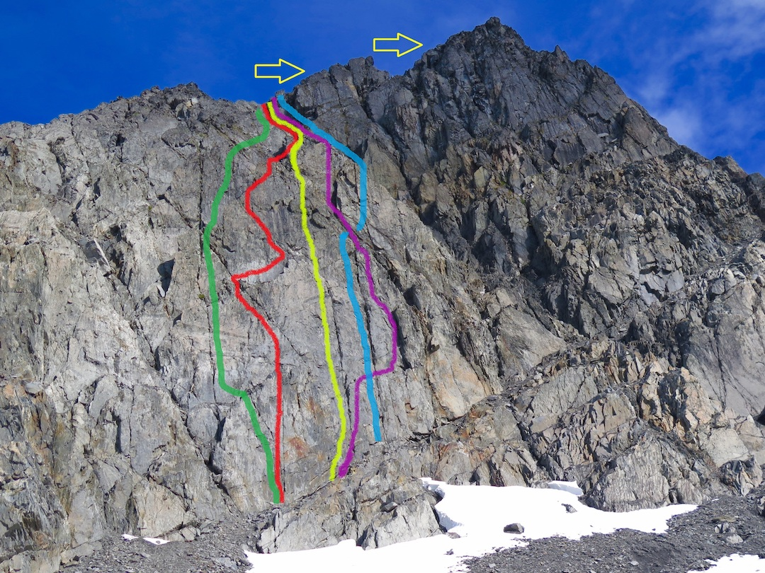 Graywacke Tower (5,500'), showing the routes completed by Taylor Brown and partners in 2016. Green: Chugachian (5.8). Red: Jujimufu (5.9). Yellow: Wacke Weicht (5.7). Purple: Summer Camp (5.8). Blue: Splitter Choss (5.7).
