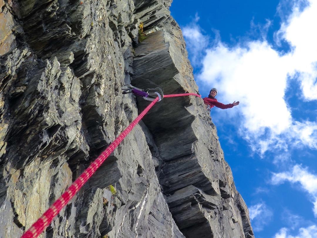 Nick Weicht on the first ascent of the Chugachian (1,000' of climbing, III 5.8 AI2), on Graywacke Tower.