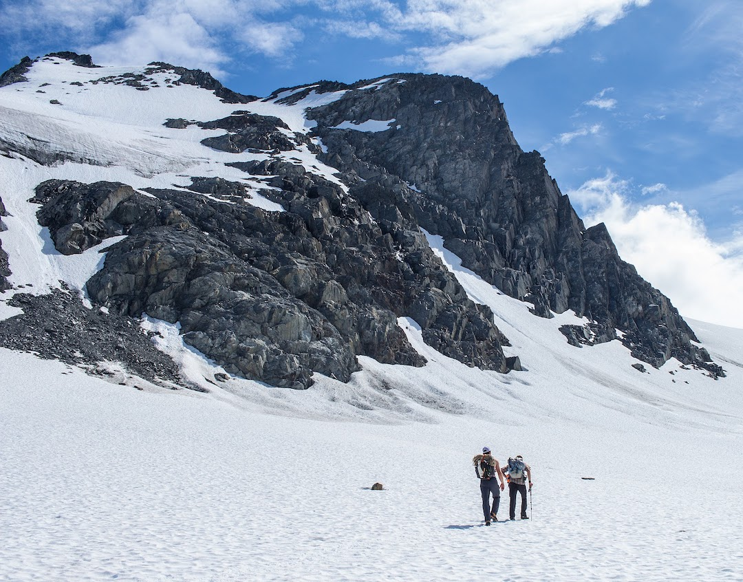 Taylor Brown and Ryan Sims approaching the Northwest Arête of Cracked Ice.