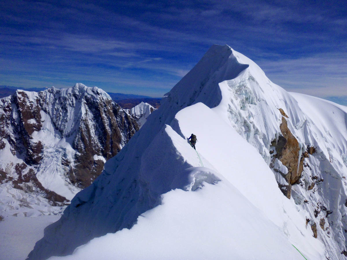 Nathan Heald on the summit crest of Jatunhuma (6,093m).