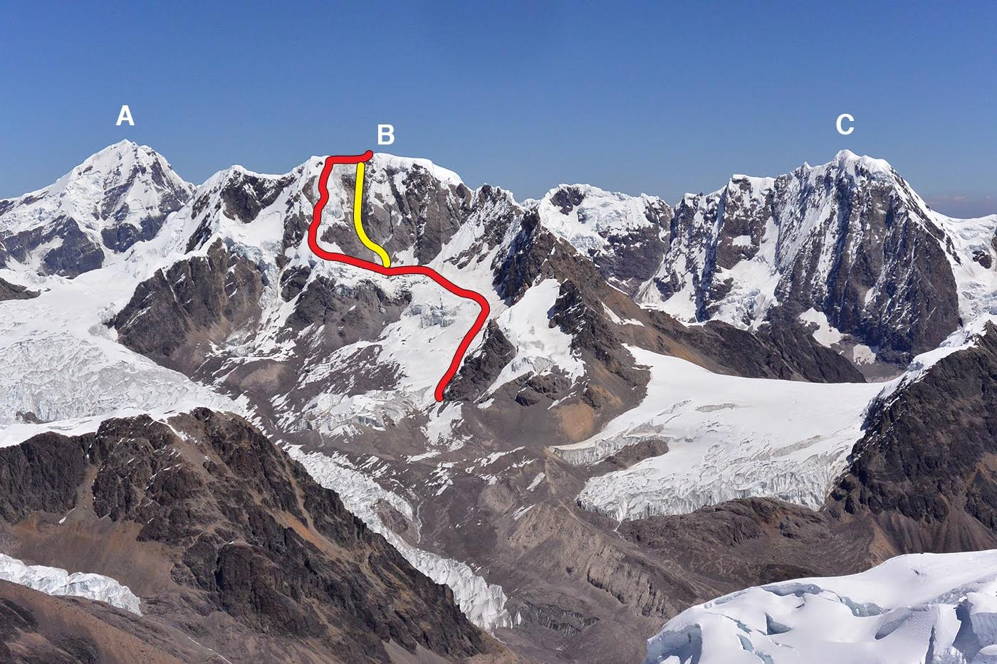 Nevado Jatunhuma and nearby peaks from the east: (A) Ausangante (6,348m). (B) Jatunhuma, showing the Field-Heald route (2016, red line) and the approximate Yugoslavian Route (Kolar-Mihev-Radovic-Zagar, 1980, yellow line). (C) Callangate (a.k.a. Cayangate, 6,110m).