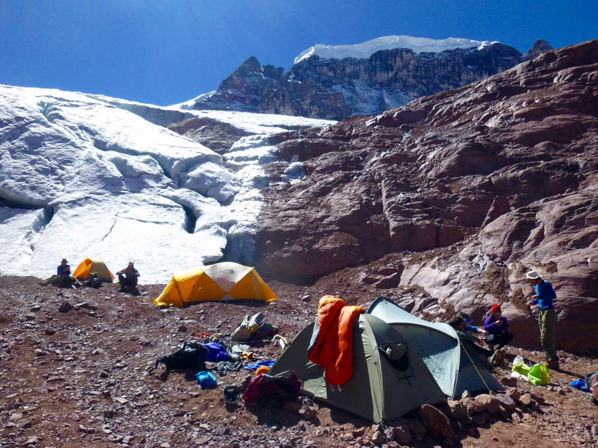 Base camp at 5,600m below the south face of Allincapac.