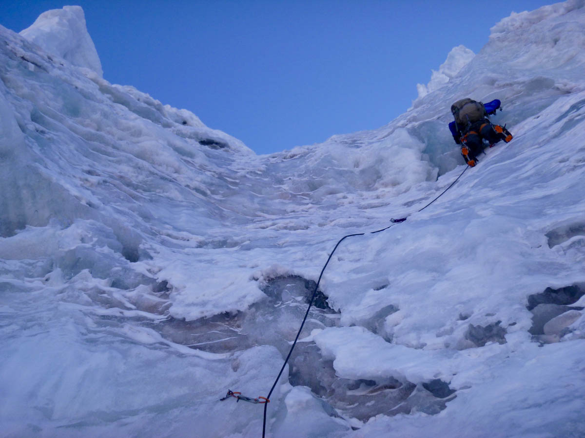Nathan Heald leading the third pitch on the south face of Pico Carol, the most difficult of the ice climbing on the ascent.