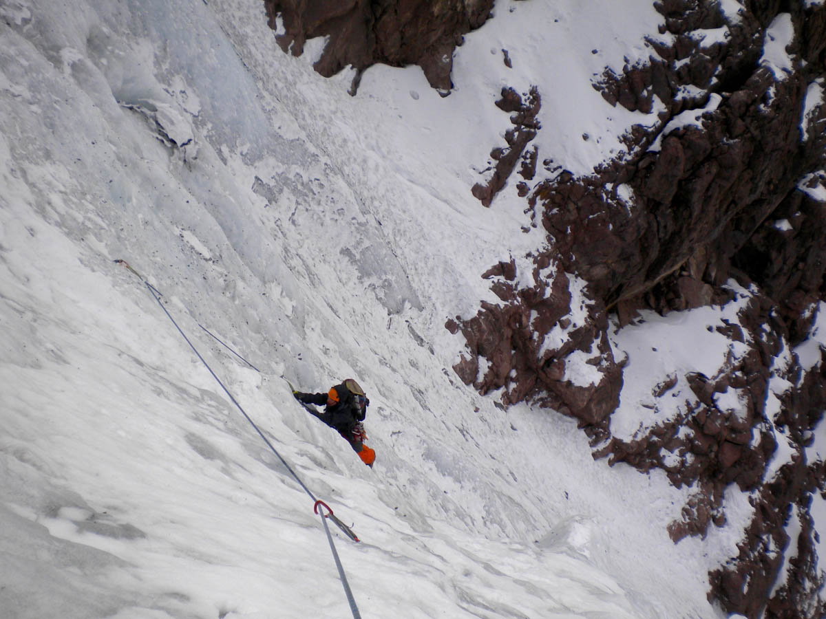 Derek Field following the first belayed ice pitch on the south side of the Mamaccapac-Papaccapac group.