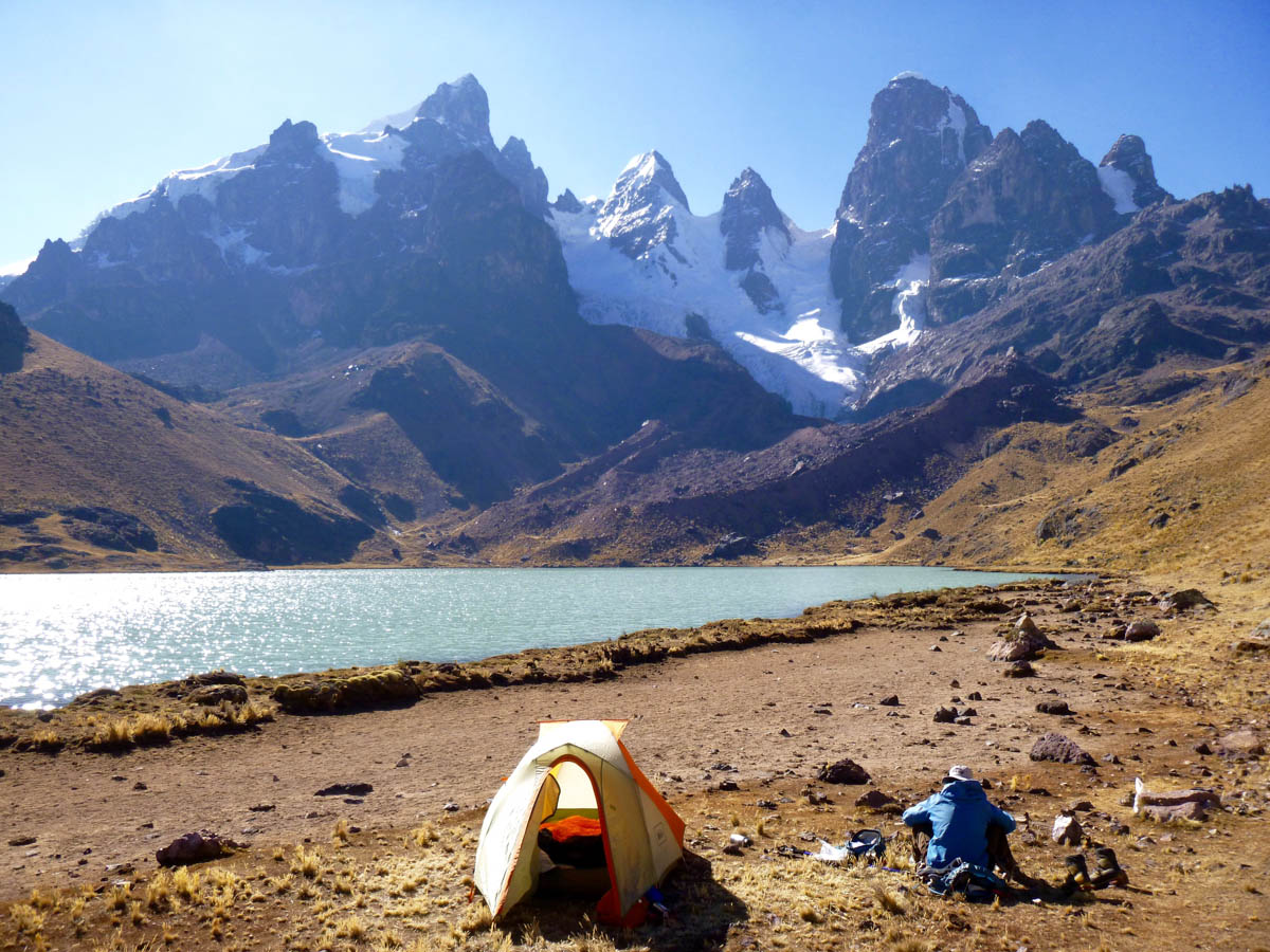 Looking north from base camp next to Laguna Carabaya. From left to right, the major peaks are: Twin Peak, Cornice, Chequilla, Tower, Papaccapac, and Mamaccapac.