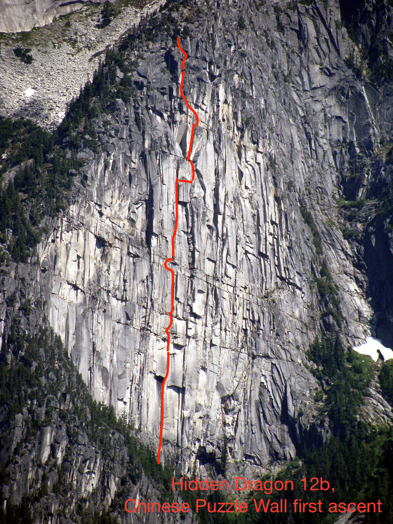 The approximate line of Hidden Dragon (11 pitches, 5.12b), the first route up the Chinese Puzzle Wall, on the west side of the Illusion Peaks in British Columbia's North Cascades.