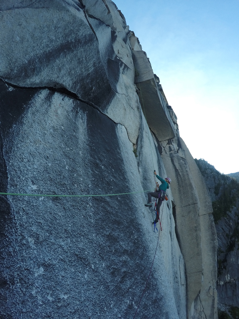 Brette Harrington jugging fixed lines while cleaning pitch eight of Hidden Dragon on the Chinese Puzzle Wall.