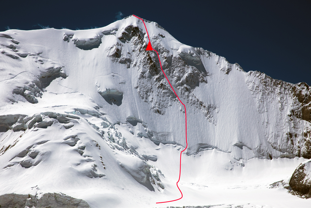 Loinbo Direct and bivouac on the 1,400m north-northwest face of Loinbo Kangri.