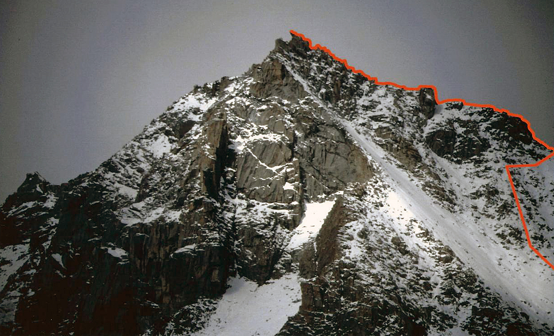 Machag (ca 6,025m), showing the route climbed in 1996 for the first ascent.