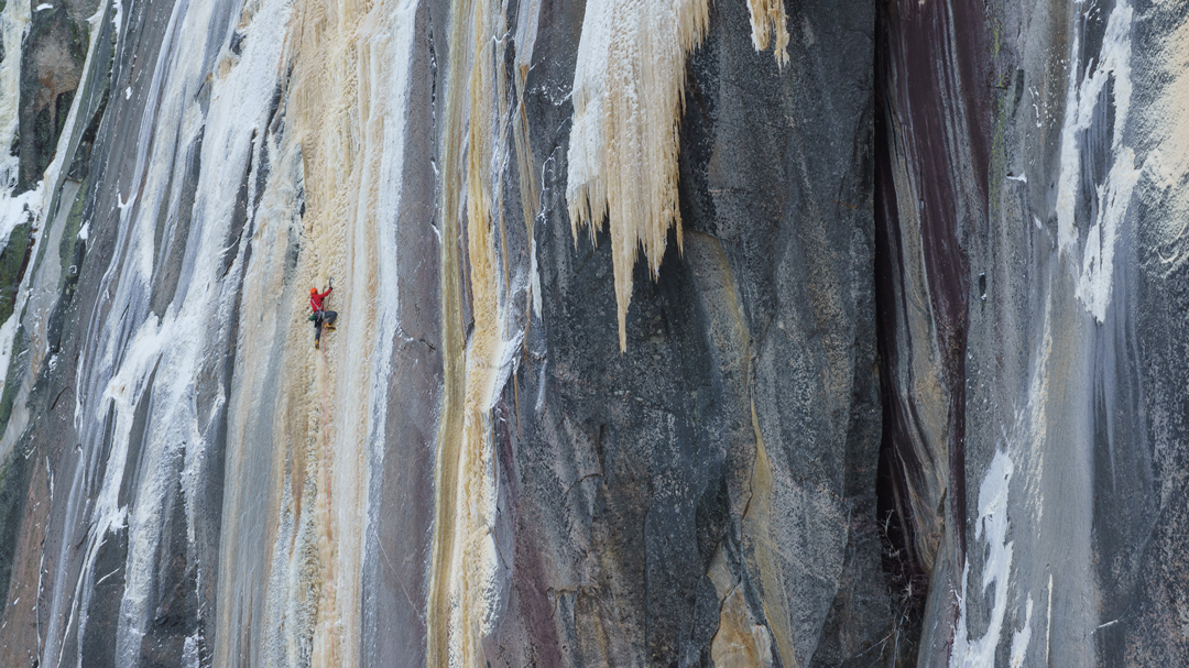 Jasmin Fauteux on the first pitch of La Fourchette Sternale Droite during the first ascent.