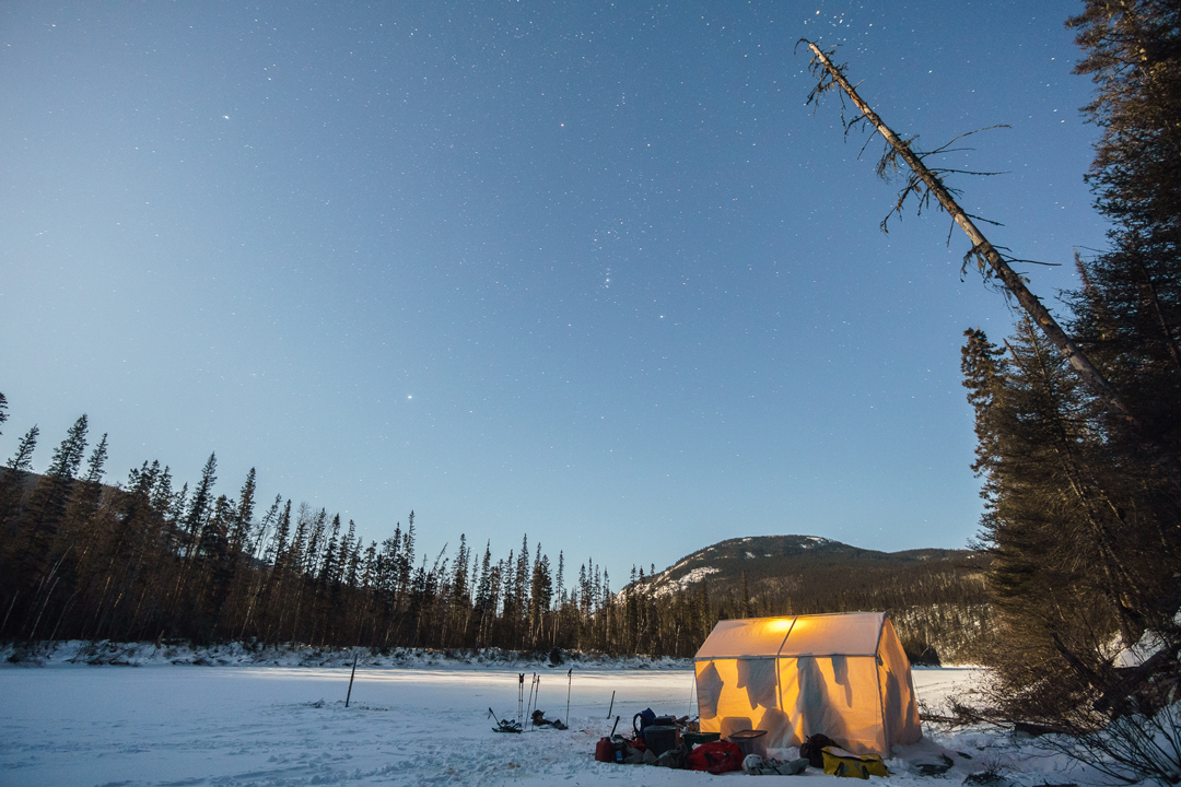 Base camp on the frozen Nipissis River.