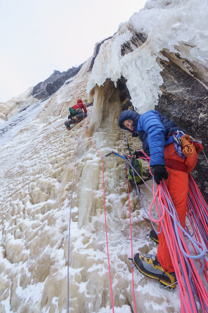 Jasmin Fauteux and Charles Roberge on the first ascent of Ectoplasme