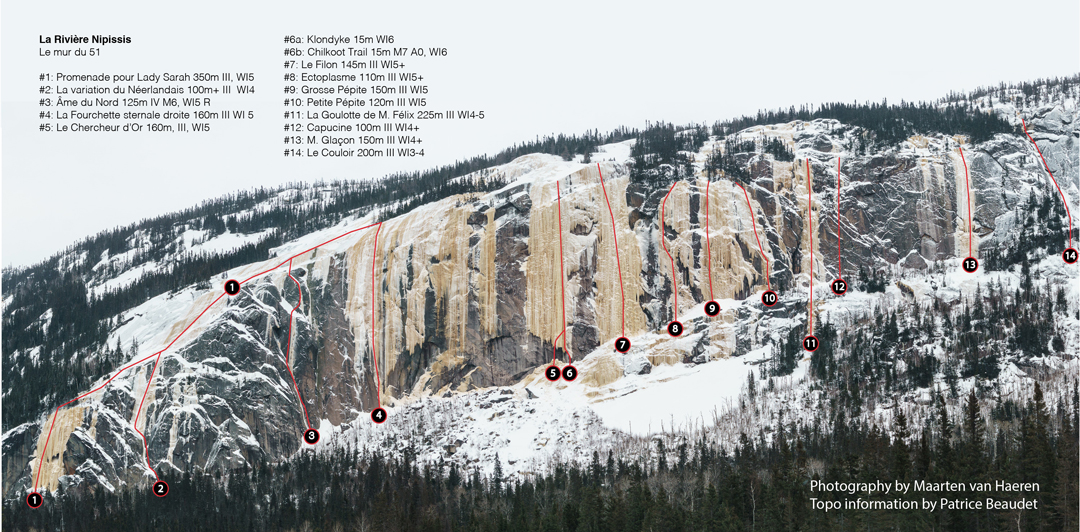 Photo-topo showing known routes at Le Mur du 51 at Rivière Nipissis as of November 2016