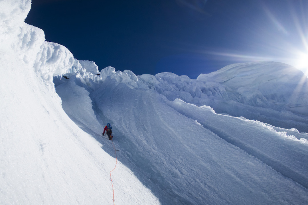 Graham Zimmerman leading into mushrooms high on the west face of Celeno during day three.