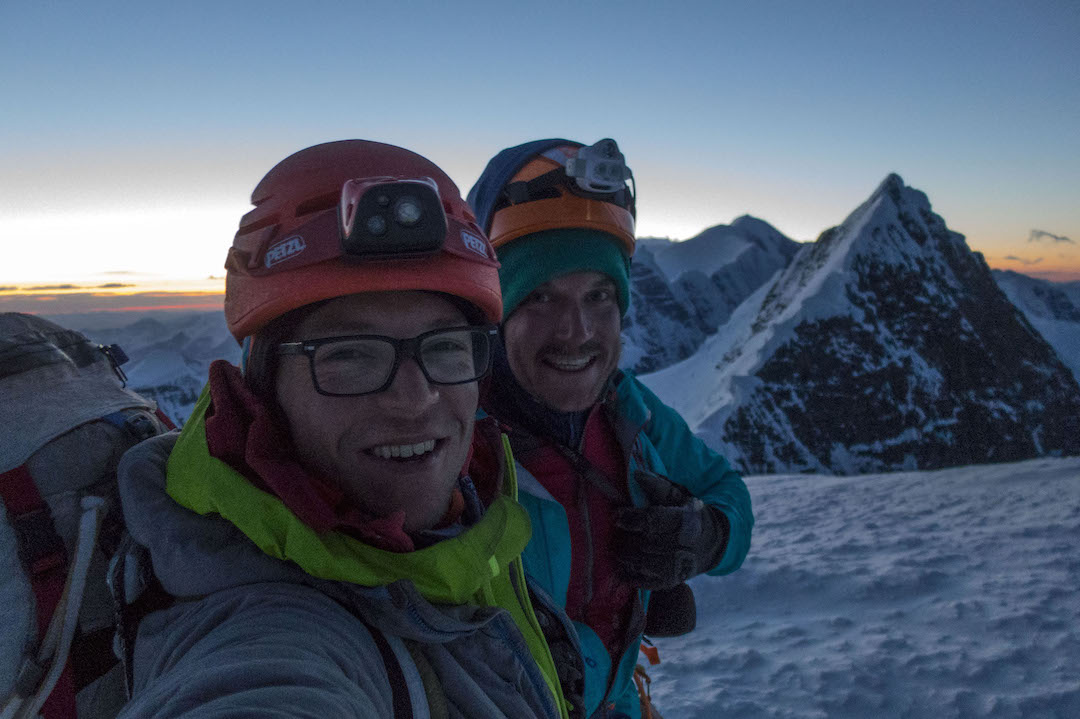 Chris Wright and Grahm Zimmerman on the summit of Celeno.