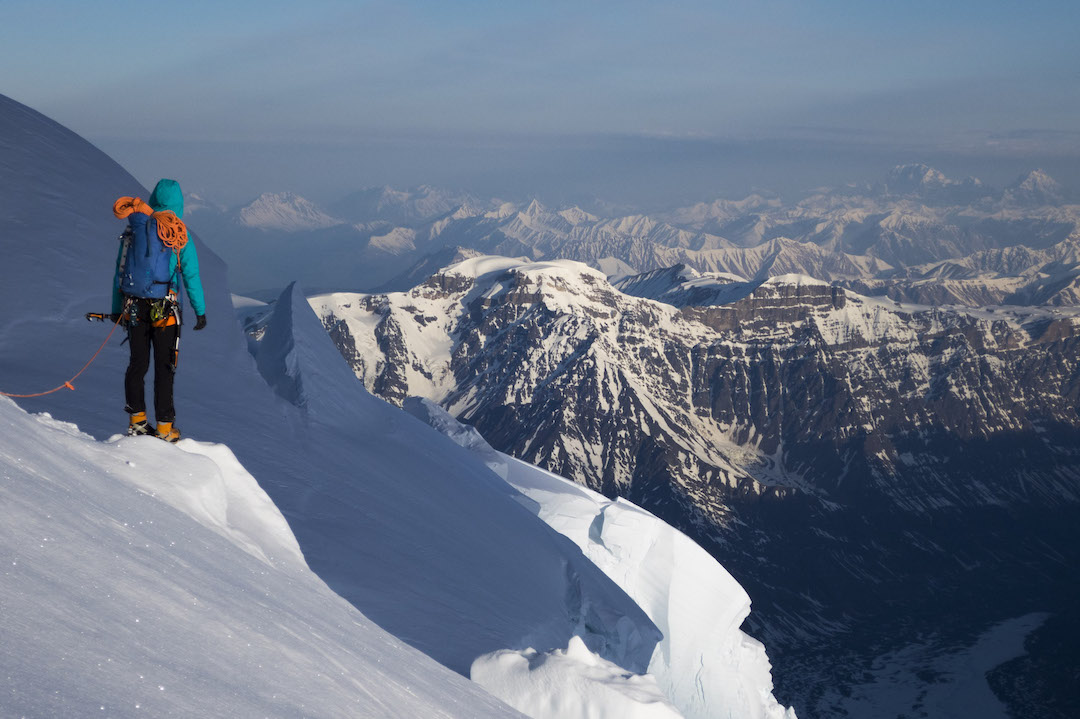 Graham Zimmerman looking out across the vast Alaskan landscape during the descent from Celeno