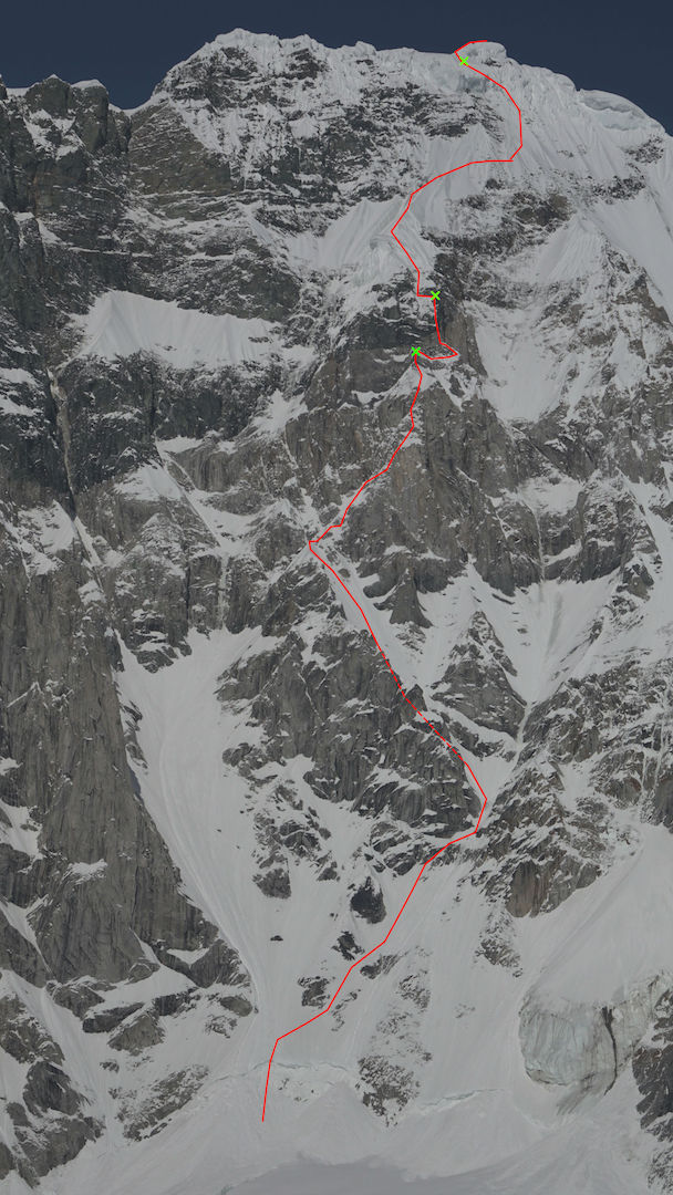 The west face of Celeno Peak, showing Chris Wright and Graham Zimmerman's new line: the West Face Direct (6,000', 5.10 X A2+ M6 95°).