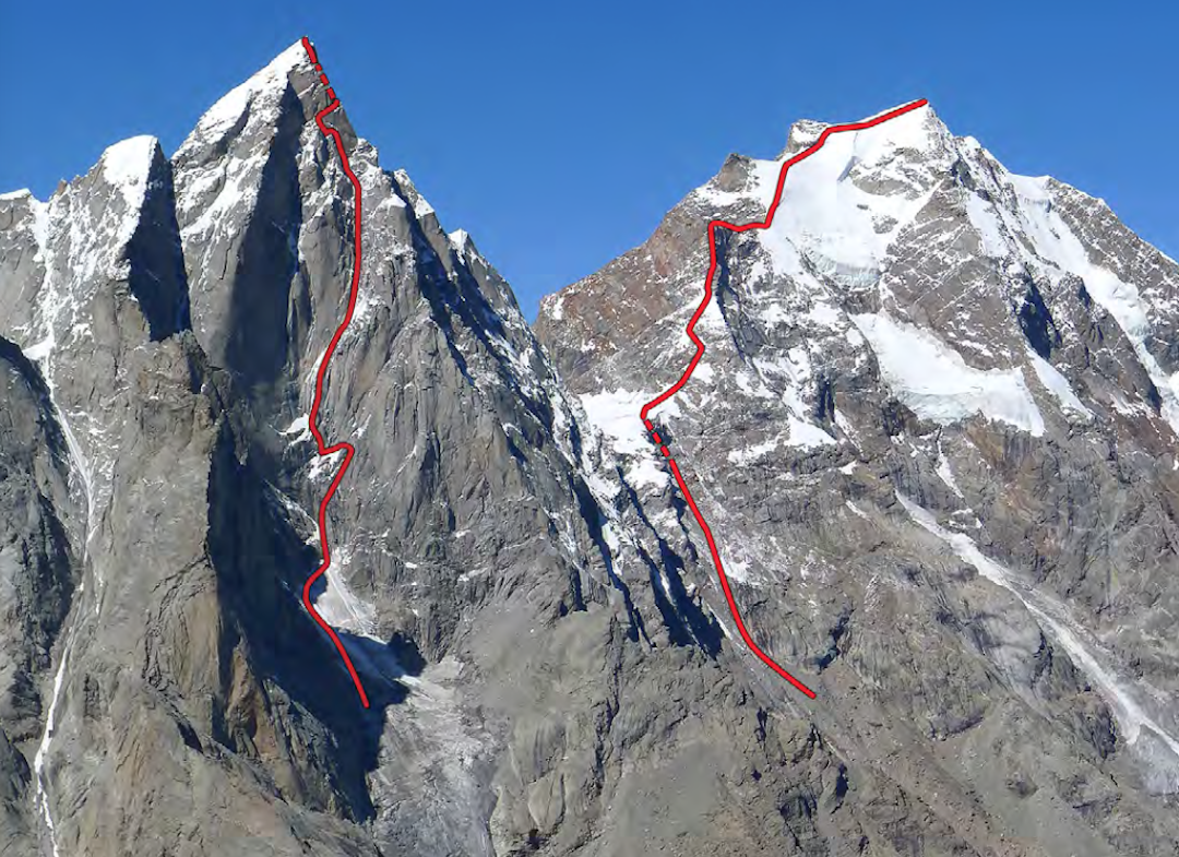 Cerro Kishtwar (6,173m, left) and Chomochior (6,278m), showing the 2015 climbs.