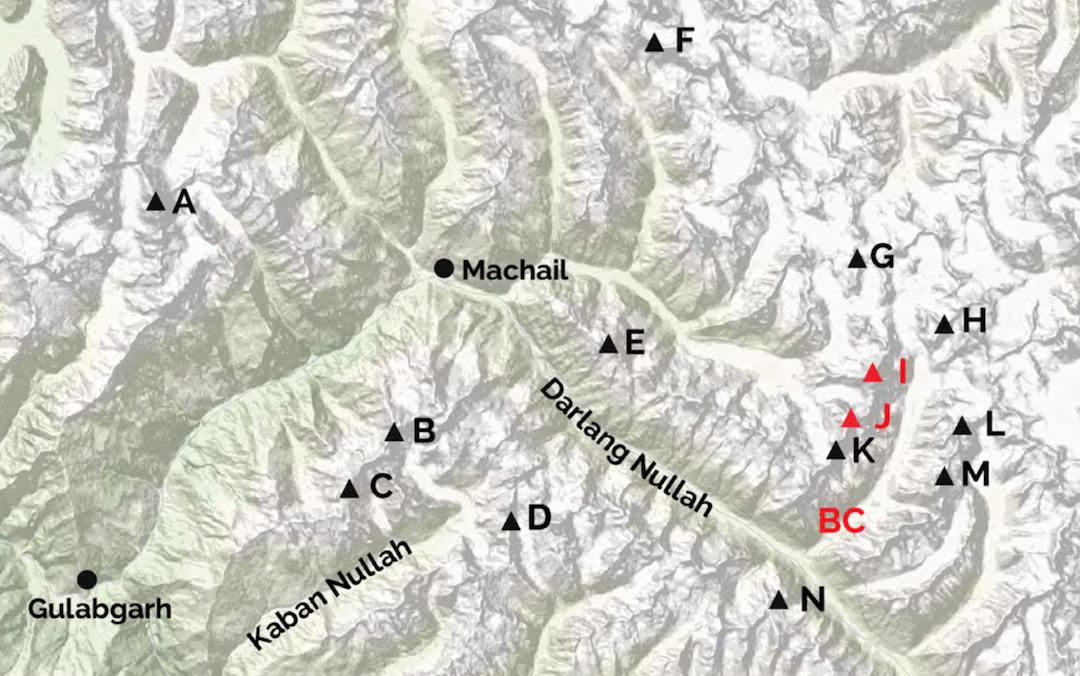 Eastern Kishtwar mountains. (A) Arjuna. (B) Spear. (C) Maha Dev Phobrang. (D) Tupendeo. (E) Kishtwar Shivling. (F) Hagshu. (G) Shiepra. (H). Lahara. (I) Chomochior. (J) Cerro Kishtwar. (K) White Sapphire. (BC) Base camp. (L) Manasuna. (M) Kishtwar Kailash. (N) Gupta