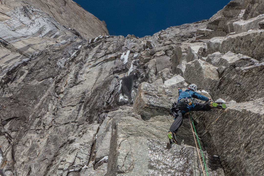 "Hayden Kennedy leads steep rock during the first day on Cerro Kishtwar. ""We climb one pitch at a time, unburdened by the final result."""