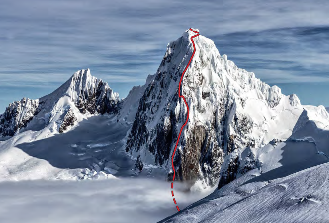 Cerro Riso Patrón Central and Hasta las Webas (1,000m, 2015) from the east. The 1988 route is farther left, beyond the rock buttress. Unclimbed Riso Patrón South on the left.