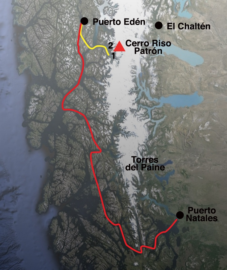 Approach to Cerro Riso Patrón. Red line: route of the Navimag ferry. Yellow line: route of the Principe from Puerto Edén into Fiordo Fal- cón. (1) 2014 base camp. (2) 2015 base camp.