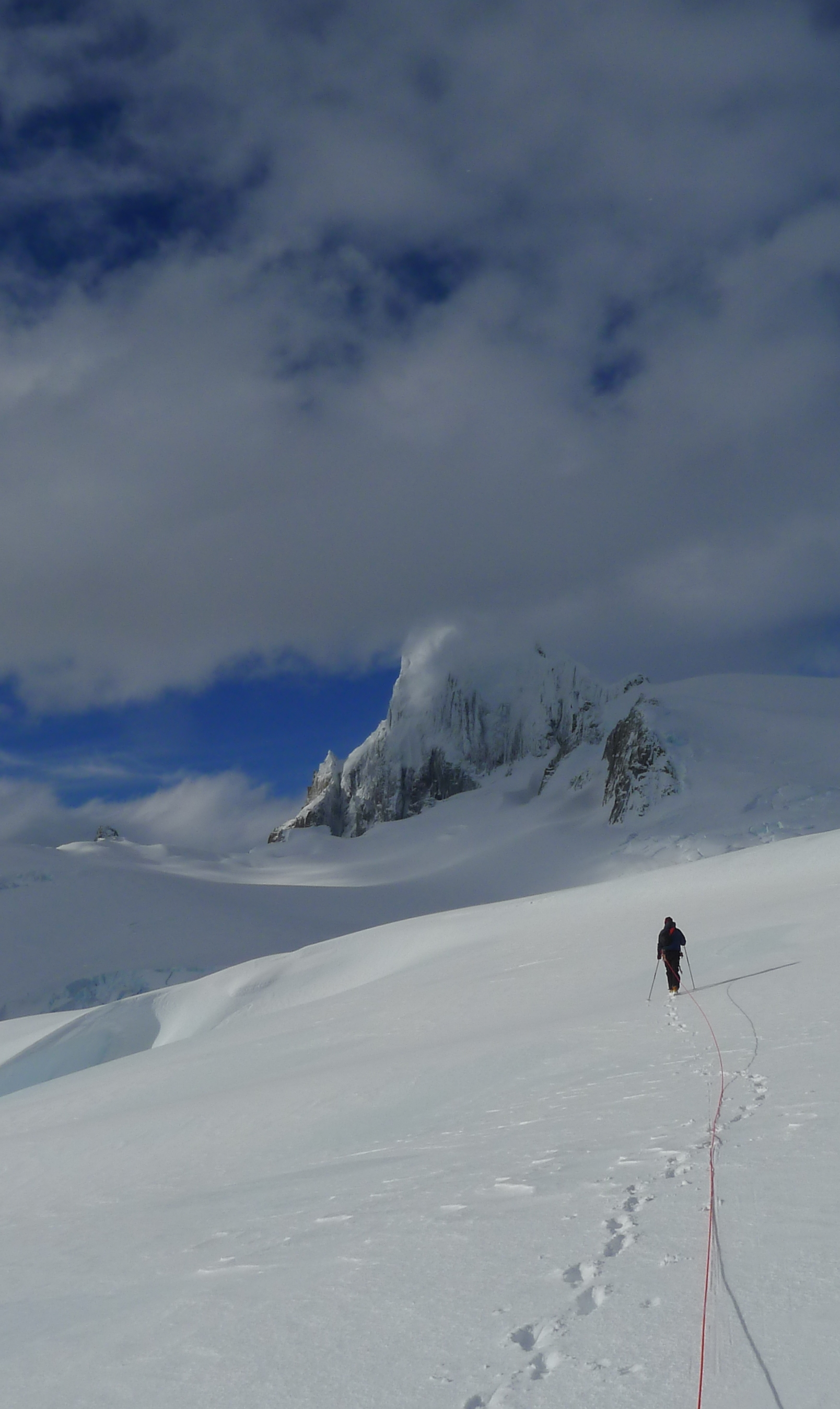 Approaching Riso Patrón South, moments before the crevasse fall that ended the 2014 attempt.
