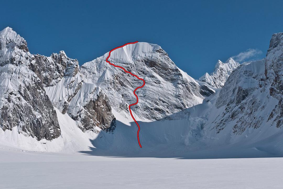 The 750m north face of Mt. Reaper (Peak 7,425'), showing the route Sugar Man.