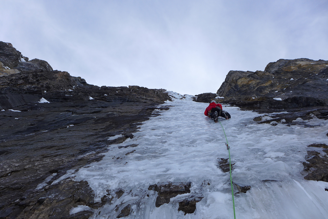 Marc-André Leclerc enjoying the thin ice typical of the climbing on Fantastic Mr. Fox (500m, WI M5).